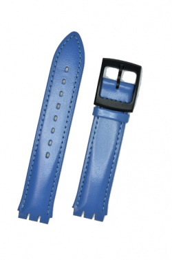 Hirsch William, Watch Strap for Swatch Gents in Royal Blue, 17mm, Plastic Buckle  - 64017585-5-20