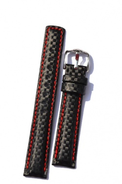 Hirsch 'Carbon' High Tech 18mm Black & red Leather Strap  - 02592052-2-18