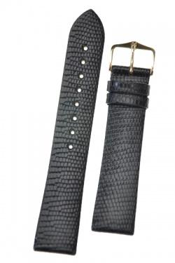 Hirsch 'Lizard' 20mm Long Black Leather Strap  - 01766050-1-20