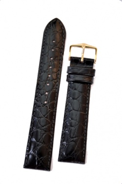 Hirsch 'Crocograin' Black Leather Strap, 18mm - 12302850-1-18