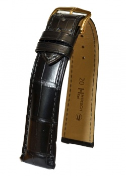 Hirsch 'Earl' 19mm Black Alligator Leather Strap  - 04707059-1-19
