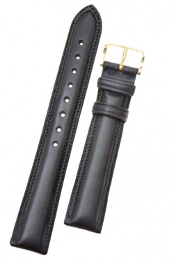 Hirsch 'Ascot' 20mm Black Leather Strap  - 01575050-1-20