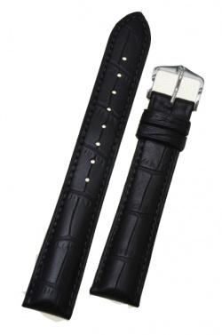 Hirsch 'Duke' Black Leather Strap, 16mm - 01028150-1-16