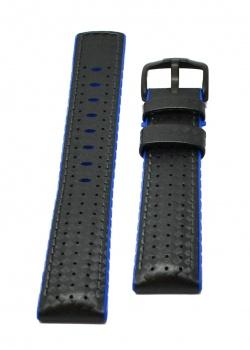Hirsch 'Ayrton' Performance 24mm Black and Blue Strap - 0918092050-5-24