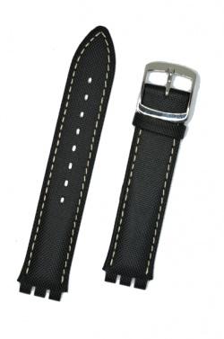 Hirsch Sailor, Watch Strap for Swatch Gents in Black, 17mm, Steel Buckle  - 64009450-2-20