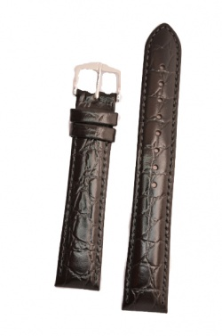 Hirsch 'Crocograin' Long Black Leather Strap, 16mm - 12322850-1-16