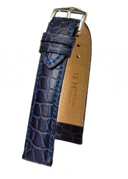 Hirsch 'Aristocrat' 18mm Blue ,L, Leather Strap  - 03828080-2-18