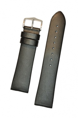 Hirsch 'Diamond calf'' Black Leather Strap,L, 19mm - 14120250-2-19