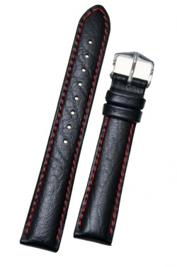 Hirsch 'Jumper' Black Leather Strap, 24mm - 04402051-2-24
