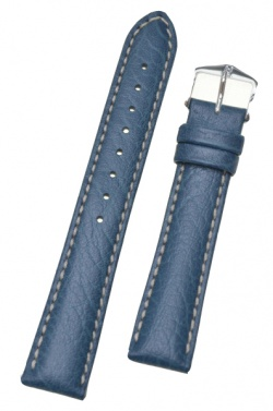 Hirsch 'Jumper' Blue Leather Strap, 20mm - 04402080-2-20