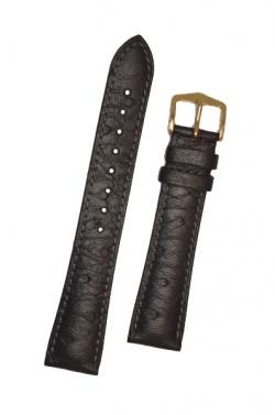 Hirsch 'Massai Ostritch' Black Leather Strap, 19mm - 04262050-1-19