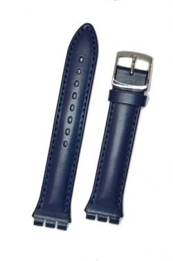 Hirsch Arizona,  Watch Strap for Swatch Chronos in Blue, 19mm, Steel Buckle  - 64202080-2-23