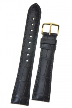 Hirsch 'London' L Black Leather Strap, 19mm - 04207059-1-19