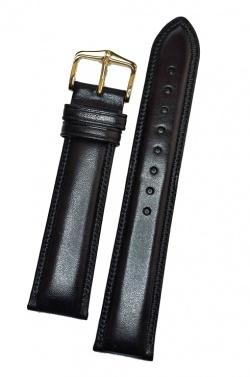 Hirsch 'Ascot' 19mm Black Leather Strap  - 01575050-1-19