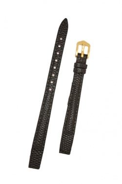 Hirsch 'Rainbow' M Black Openended Leather Strap, 12mm - 12302650OE-1-12