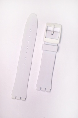 Hirsch Tim, Watch Strap for Swatch in White, 17mm, Plastic Buckle  - 63049500-9-20