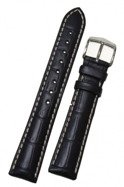 Hirsch 'Modena' Black Leather Strap, 18mm - 10302850-2-18