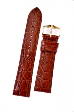 Hirsch 'Crocograin' Tan Leather Strap, 16mm - 12322870-1-16