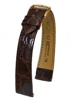 Hirsch 'Genuine Croco' 17mm Brown Leather Strap  - 18920810-1-17