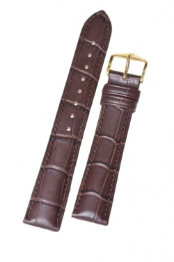 Hirsch 'Duke' Dark Brown Long Leather Strap, 18mm - 01028010-1-18