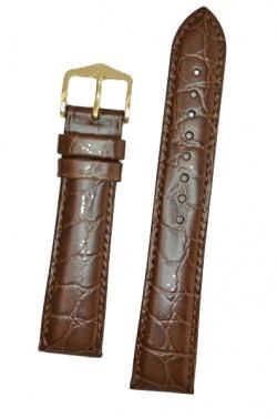 Hirsch 'Crocograin' Brown Leather Strap, 19mm - 12322810-1-19