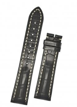 Hirsch 'Capitano' 24mm Matt Black Alligator Leather Strap  - 04807059-0-24