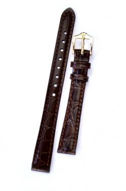 Hirsch 'Crocograin' Brown Leather Strap, 14mm - 12302810-1-14