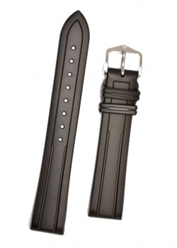Hirsch 'Hevea' 18mm Premium Black Rubber Strap  - 40458850-2-18
