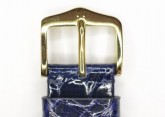 Hirsch 'Genuine Croco' 19mm Blue Leather Strap