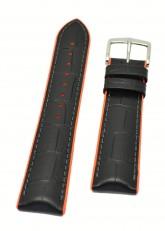 Hirsch 'Andy' Performance 22mm Black and Orange Strap