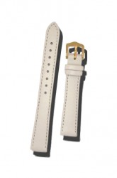 Hirsch 'Umbria ' M White Leather Strap, 14mm