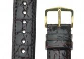 Hirsch 'Genuine Croco' M 17mm Brown Leather Strap