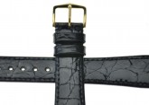 Hirsch 'Genuine Croco' M 17mm Black Openended Leather Strap
