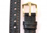 Hirsch 'Crocograin' Black Leather Strap, 12mm