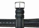 Hirsch 'Viscount' Black Leather Strap, 24mm