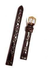 Hirsch 'Genuine Croco' M 12mm Brown Leather Strap