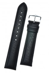 Hirsch 'Highland' L Black, leather watch strap 24mm