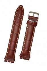 Hirsch Havanna, Watch Strap for Swatch Chronos in Golden Brown, 19 mm, Steel Buckle