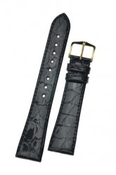 Hirsch 'Genuine Croco' M 19mm Black Openended Leather Strap