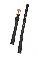 Hirsch 'Camelgrain' open ended 10mm Black Leather Strap