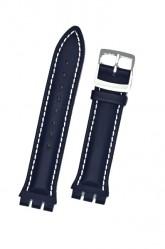 Hirsch Lionel, Watch Strap for Swatch Chronos in Blue, 19mm, Steel Buckle