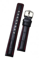 Hirsch 'Grand Duke' High Tech 20mm Black Leather Strap