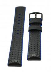 Hirsch 'Ayrton' Performance 20mm Black and Blue Strap