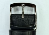 Hirsch Havanna, Watch Strap for Swatch Chronos in Black, 19mm, Steel Buckle