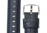 Hirsch 'Grand Duke' L 24mm Navy Blue Leather Strap