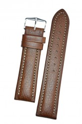 Hirsch 'Buffalo' L 22mm Brown Leather Strap