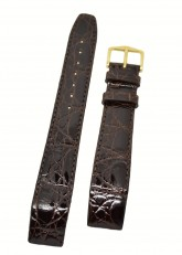Hirsch 'Genuine Croco' M 20mm Brown Openended Leather Strap