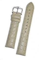 Hirsch 'Aristocrat' 18mm Beige Leather Strap L