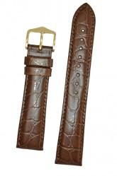 Hirsch 'Crocograin' Long Brown Leather Strap, 18mm
