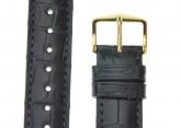 Hirsch 'London' M Black Leather Strap, 16mm